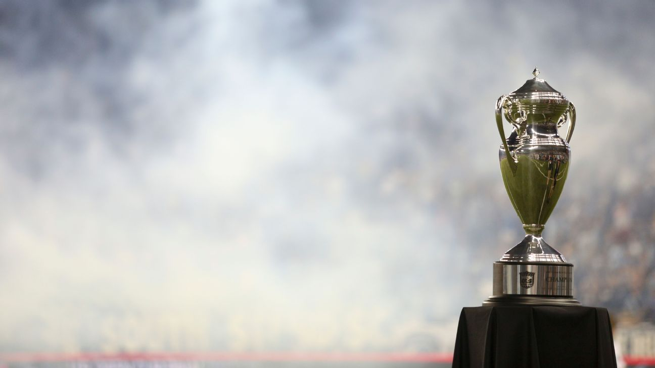 The U.S. Open Cup trophy sits ahead of the final.