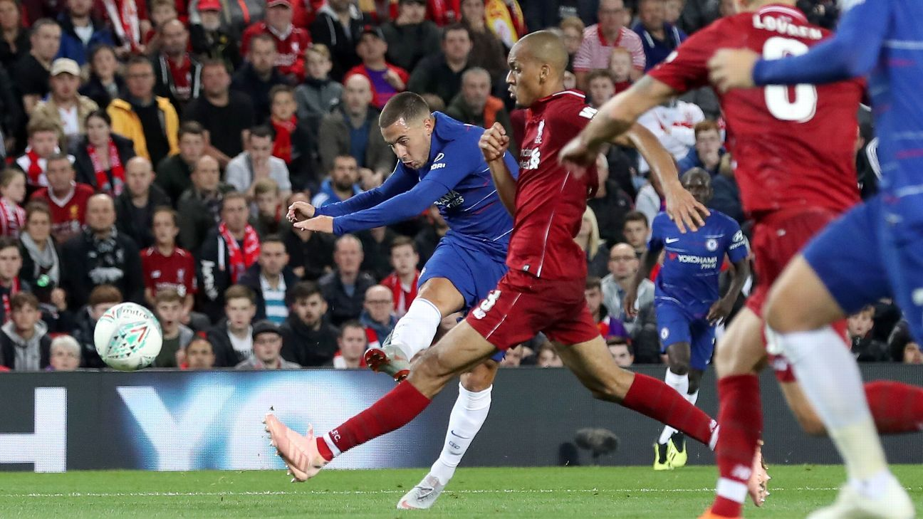 Eden Hazard's individual goal claimed a win for Chelsea at Liverpool in the Carabao Cup
