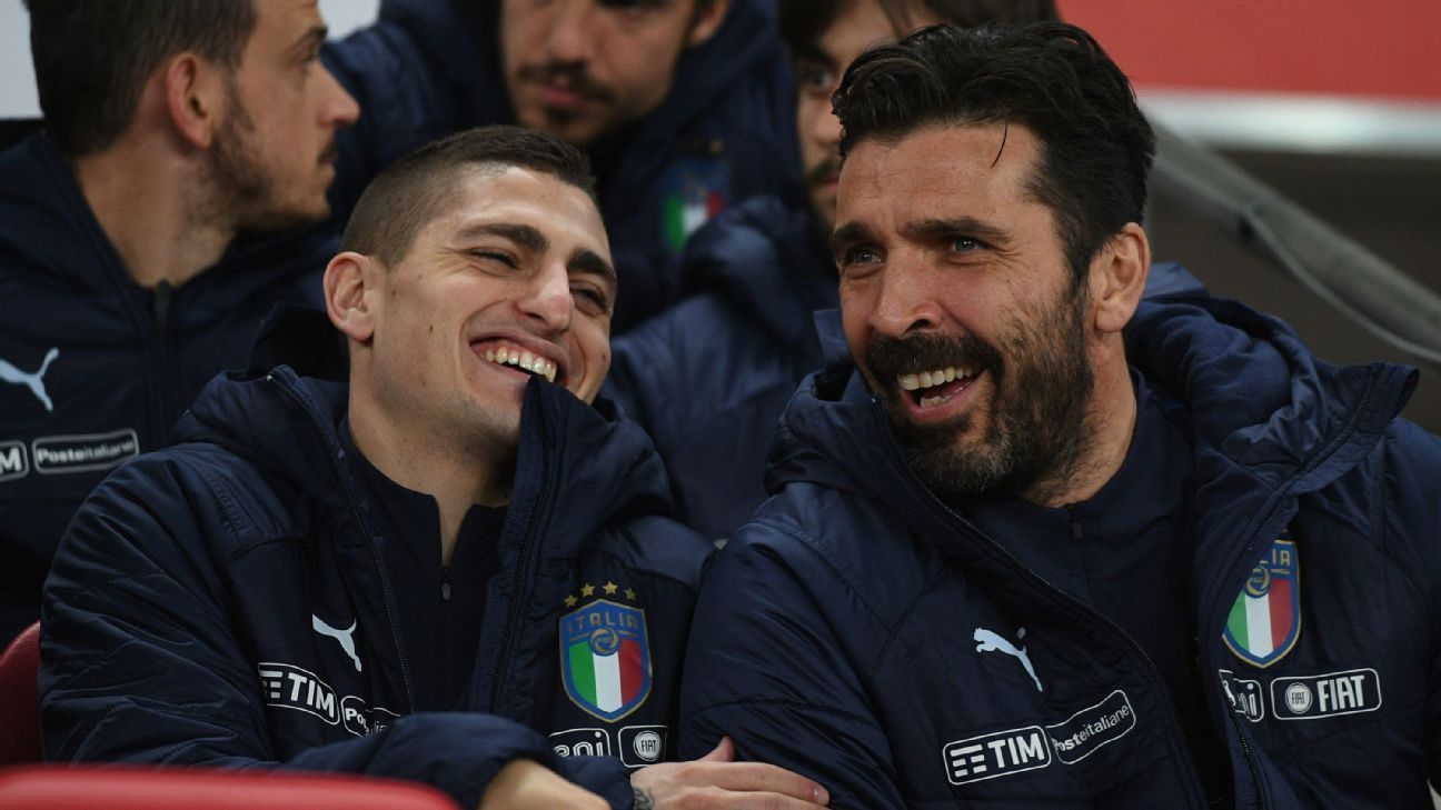 Gianluigi Buffon with Marco Verratti