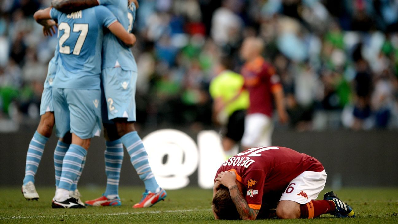 Daniele De Rossi reacts after Roma are defeated by Lazio in the Coppa Italia final.