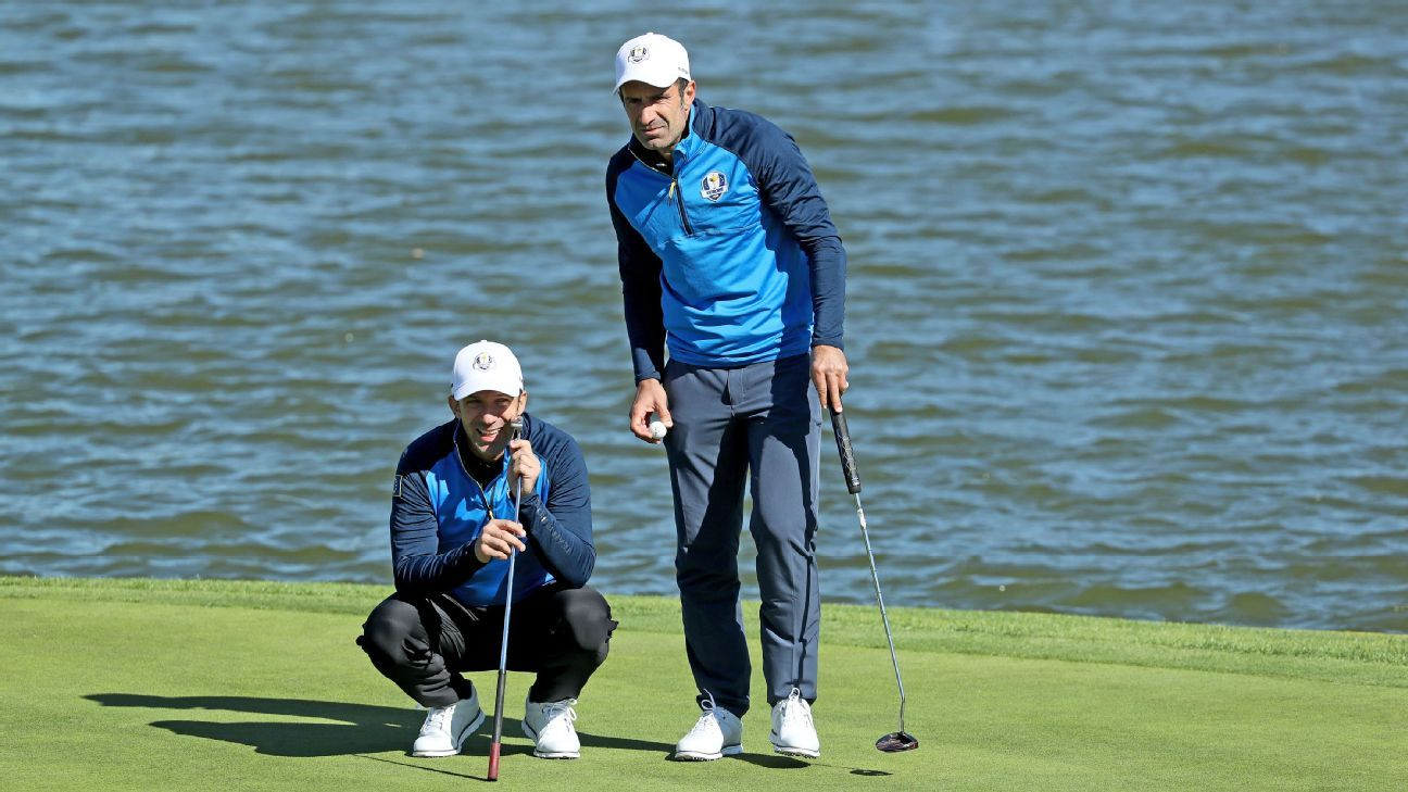 Alessandro Del Piero and Luis Figo looked the part as they played on the Albatros course