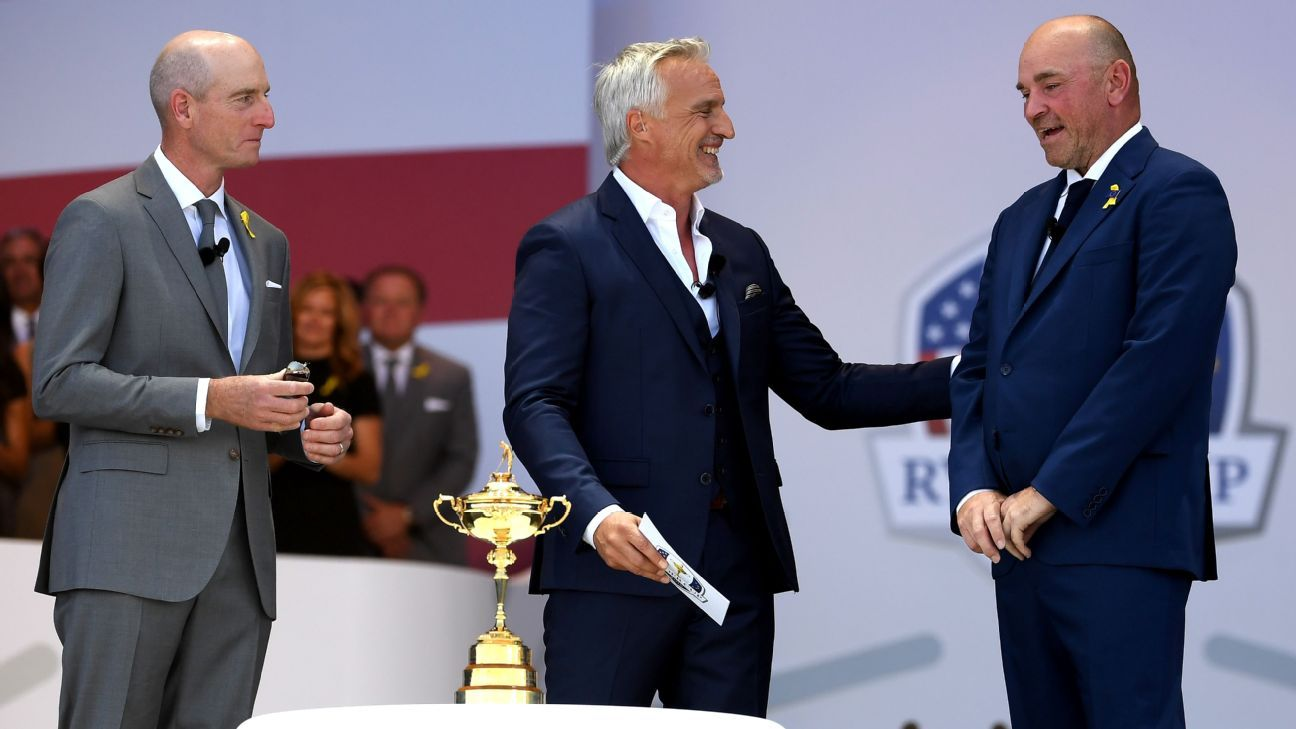 David Ginola engaged in some transatlantic diplomacy between the United States and Europe's Ryder Cup captains