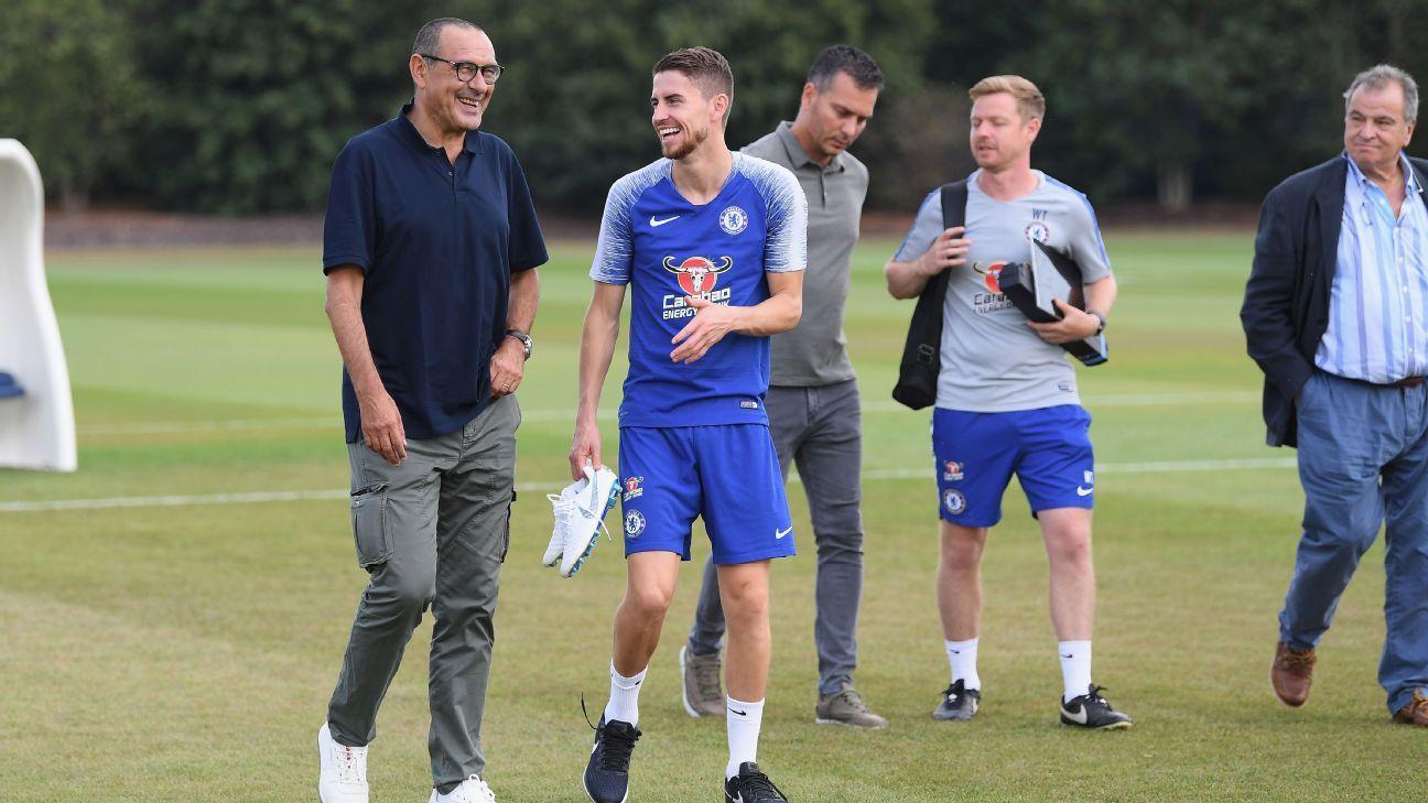 Maurizio Sarri with Jorginho