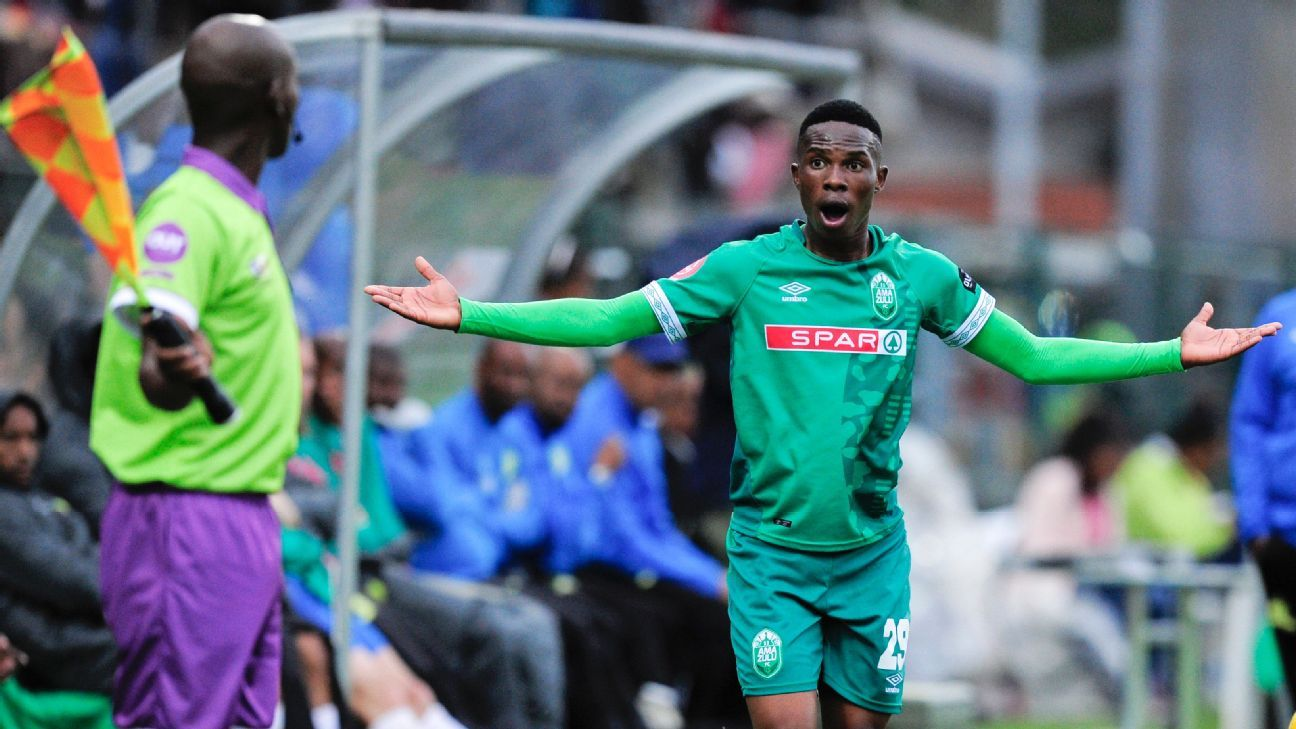 Thembela Sikhakhane of AmaZulu questions a linesman's call