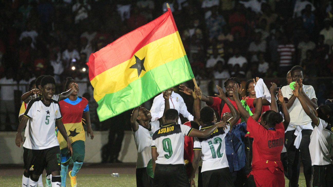 Ghana team players celebrate after winning the first West African Football Union zone B women's tournament final match between Ghana and Ivory Coast