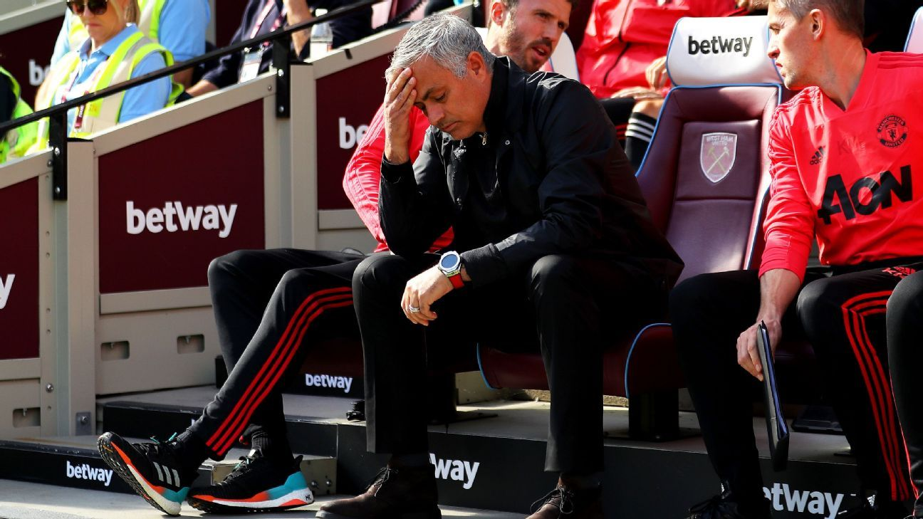 Jose Mourinho, manager of Manchester United, looks dejected at West Ham.