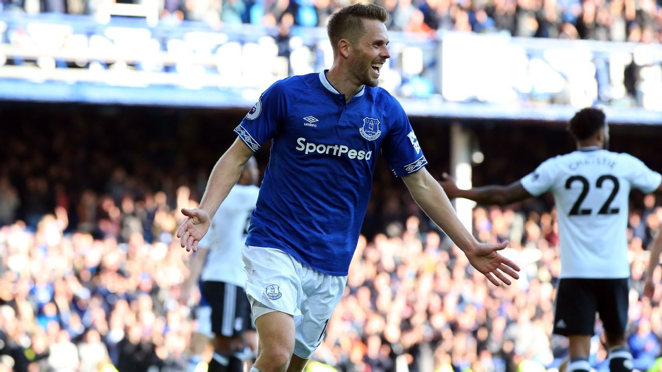 Gylfi Sigurdsson of Everton celebrates scoring his side's third goal.