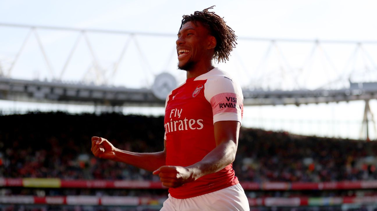 Alex Iwobi celebrates during Arsenal's Premier League win over Watford.