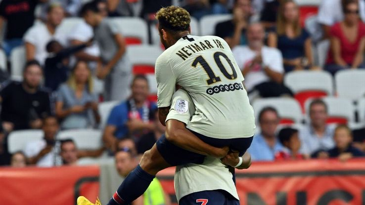 Neymar was in the mood Saturday against Nice, bagging a brace to bring his season tally to seven.