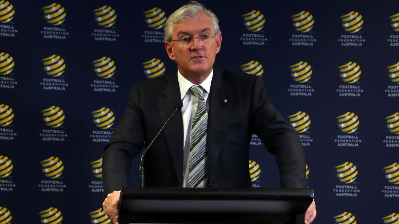 Football Federation Australia chairman Steven Lowy speaks at a press conference.