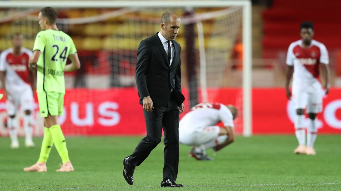 Leonardo Jardim trudges off the pitch after the defeat to Angers.