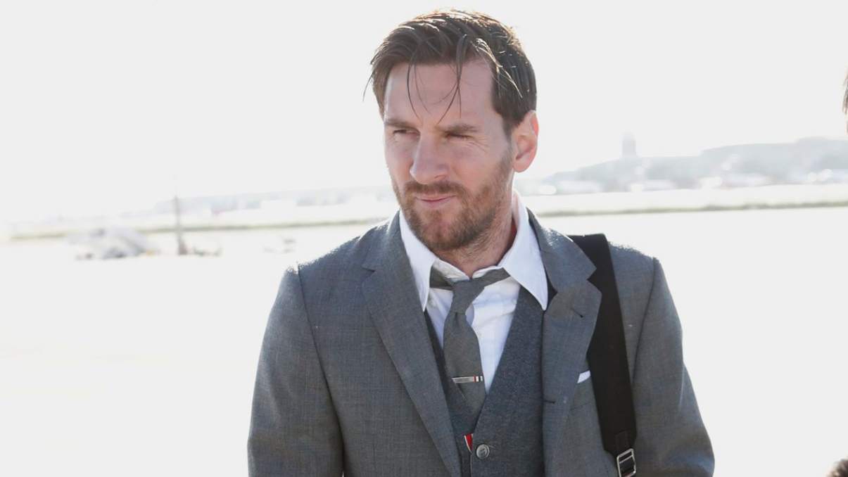 Lionel Messi was dressed up for the trip to London.