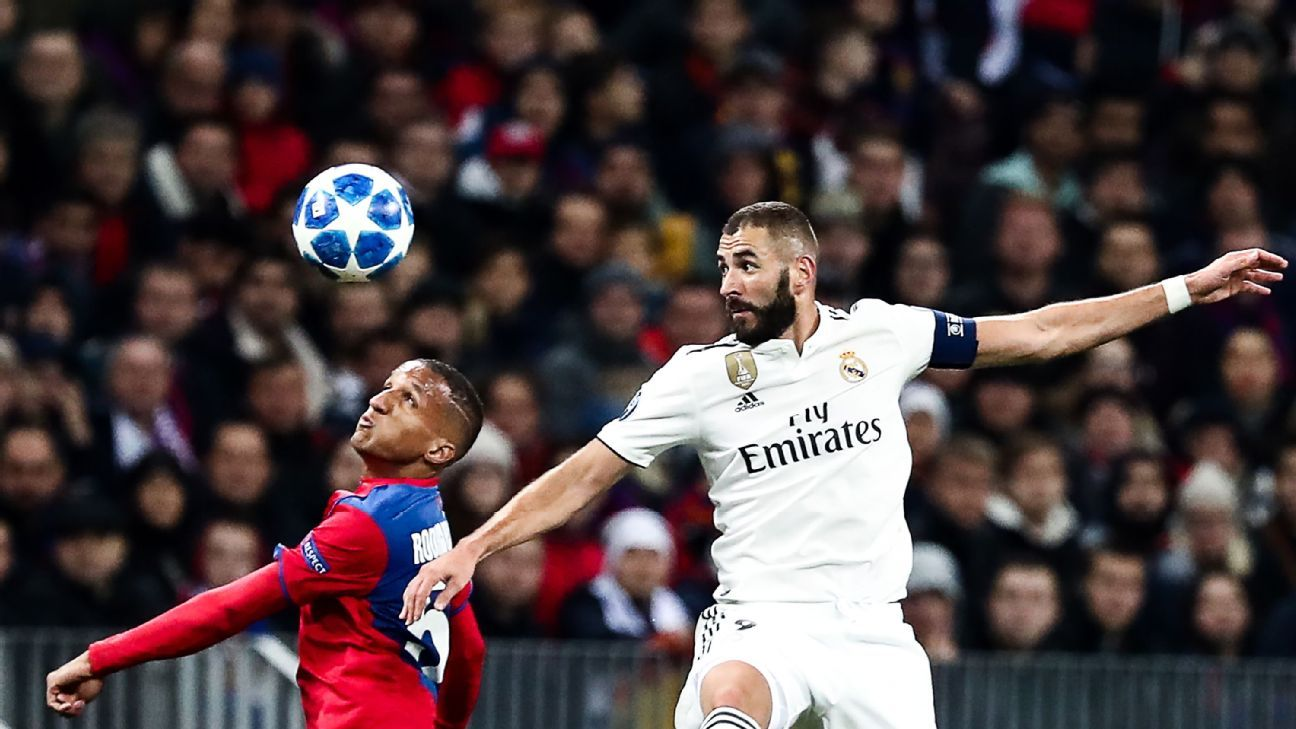 Karim Benzema has now gone six games without a shot on goal as a centre-forward.
