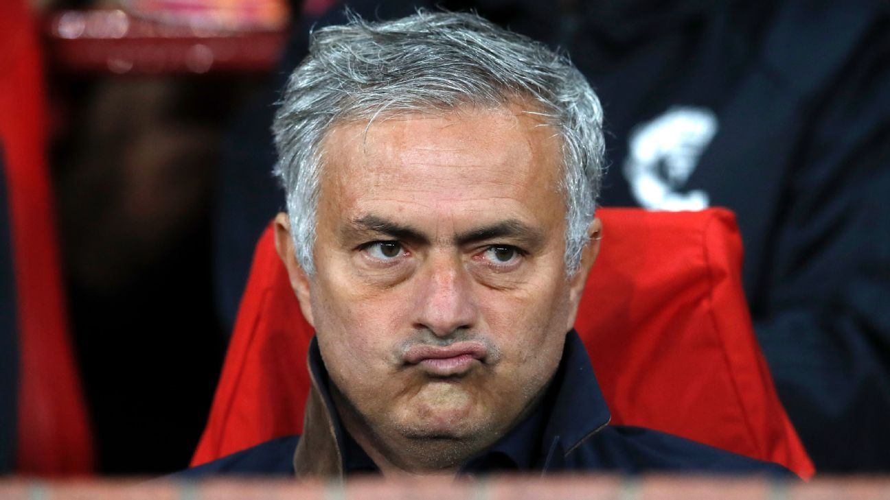 Jose Mourinho looks on during Manchester United's Champions League draw vs. Valencia.