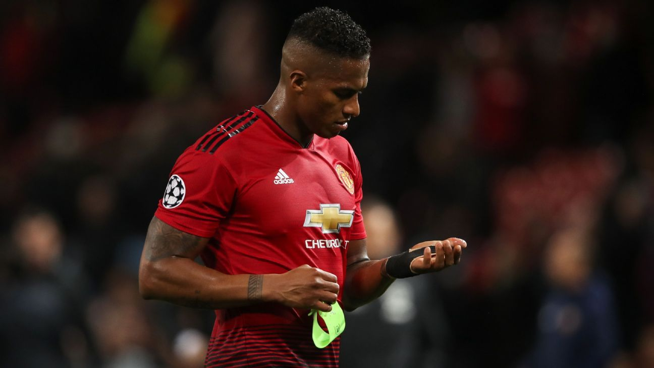 Antonio Valencia during Manchester United's goalless draw with Valencia in the Champions League.