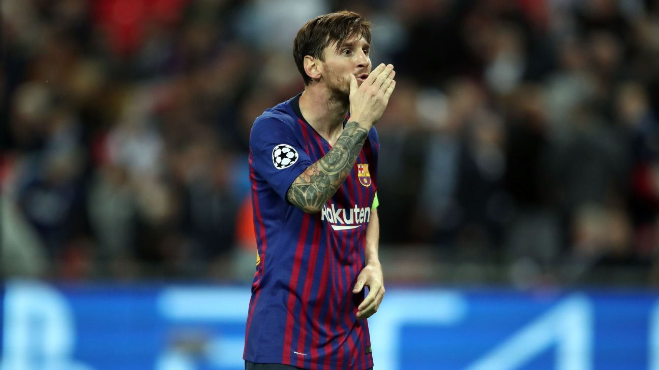 Lionel Messi has scored five goals in two Champions League games this season.