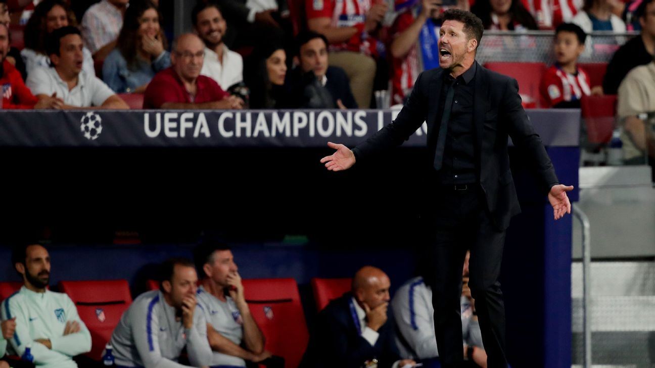 Atletico Madrid manager Diego Simeone yells instructions to his team in their UCL match against Club Brugge.