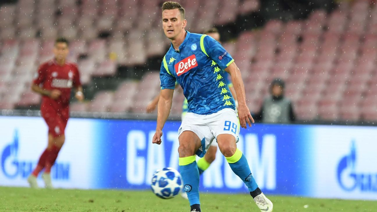 Arkadiusz Milik in action against Liverpool.