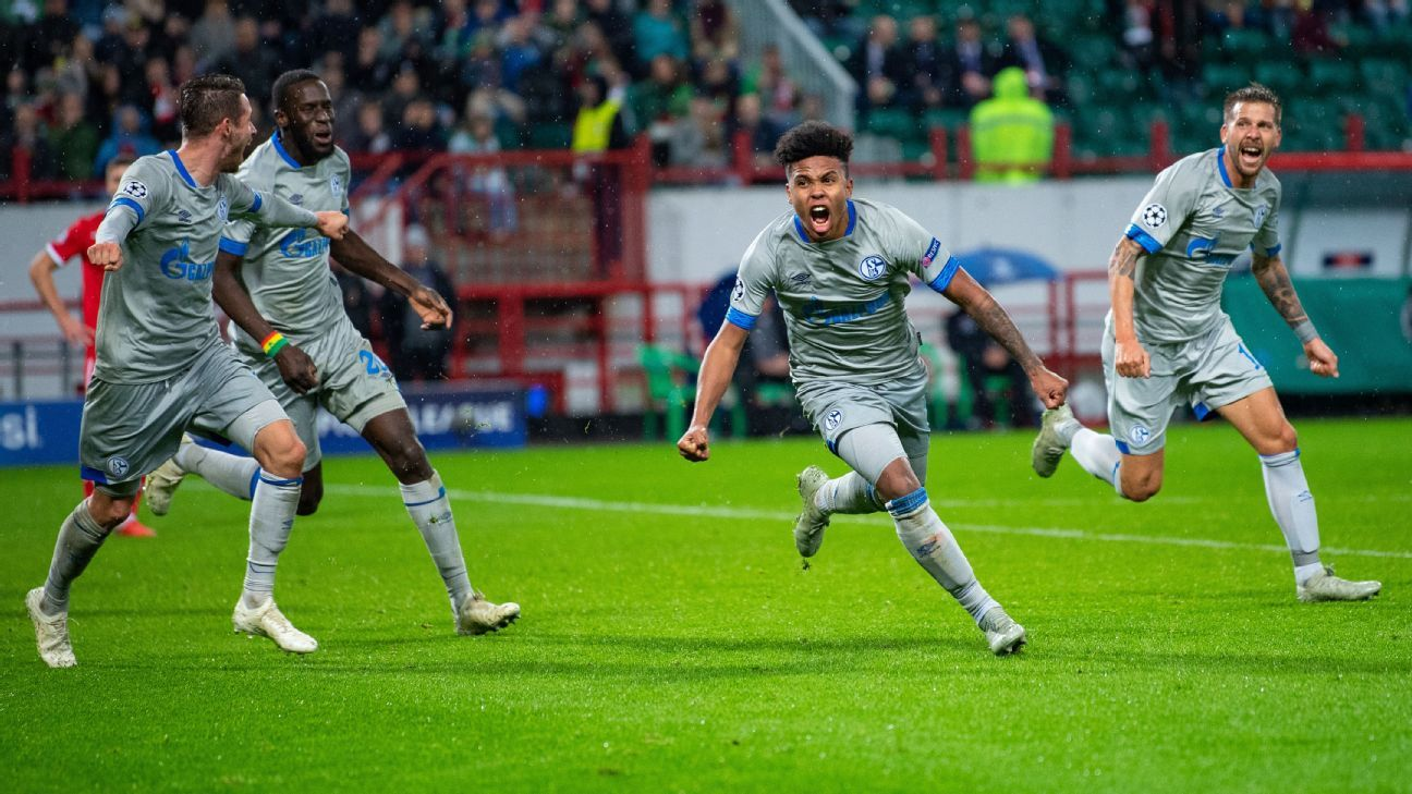 Weston McKennie celebrates his late winner for Schalke.