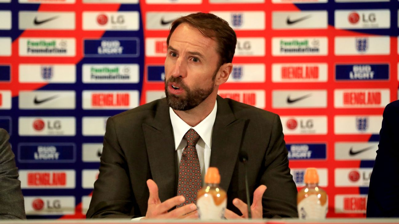 England manager Gareth Southgate during the squad announcement at St George's Park.