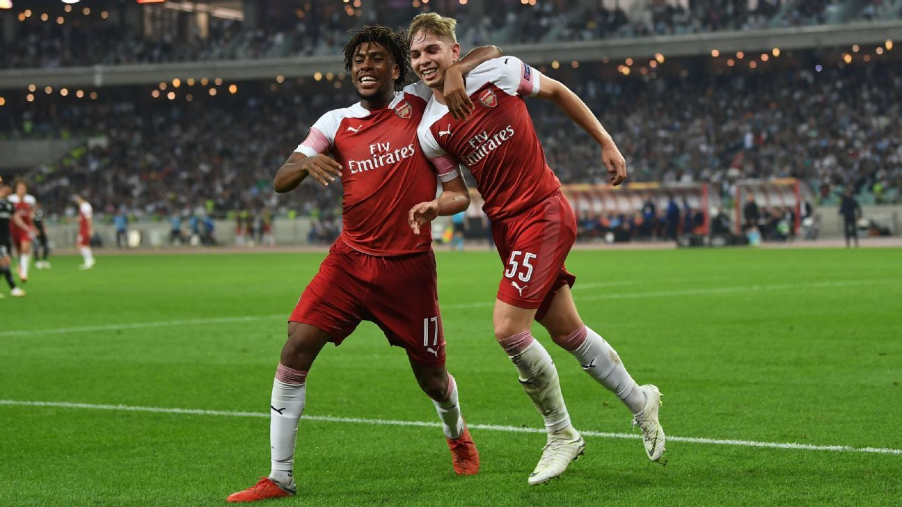 Arsenal youngster Emile Smith Rowe, right, scored his first goal for the Gunners in the team's Europa League win on Thursday.