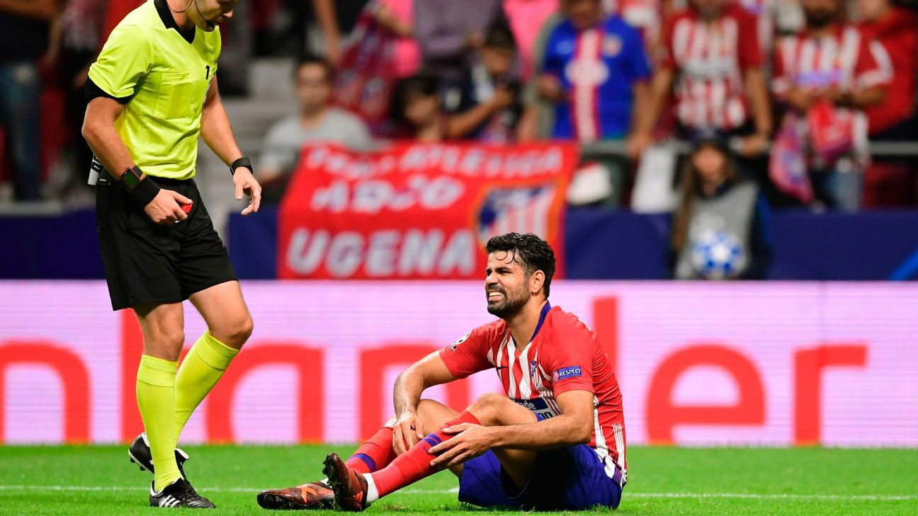 Diego Costa suffered a hamstring injury in Atletico's Champions League win over Club Brugge on Wednesday.