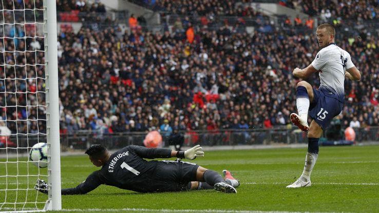 Eric Dier puts Tottenham in front against Cardiff.