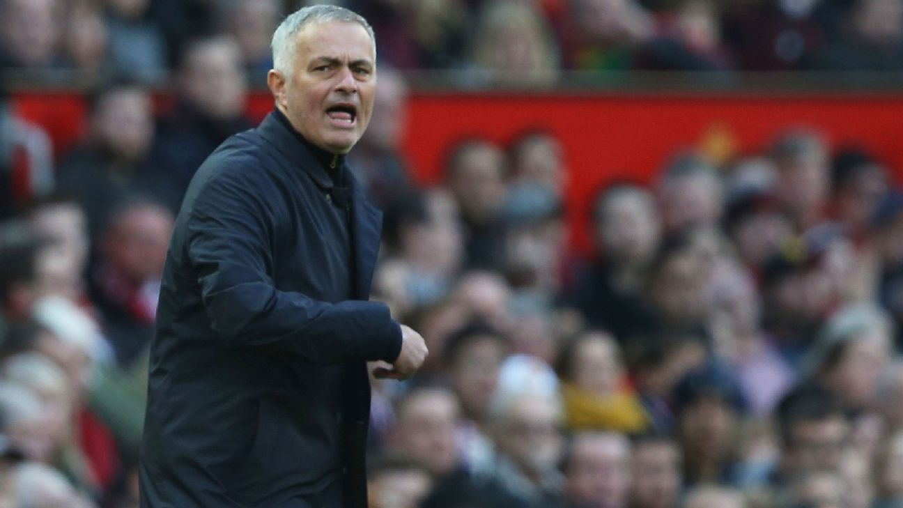 Jose Mourinho tries to encourage his Manchester United side as they trail Newcastle 2-0.
