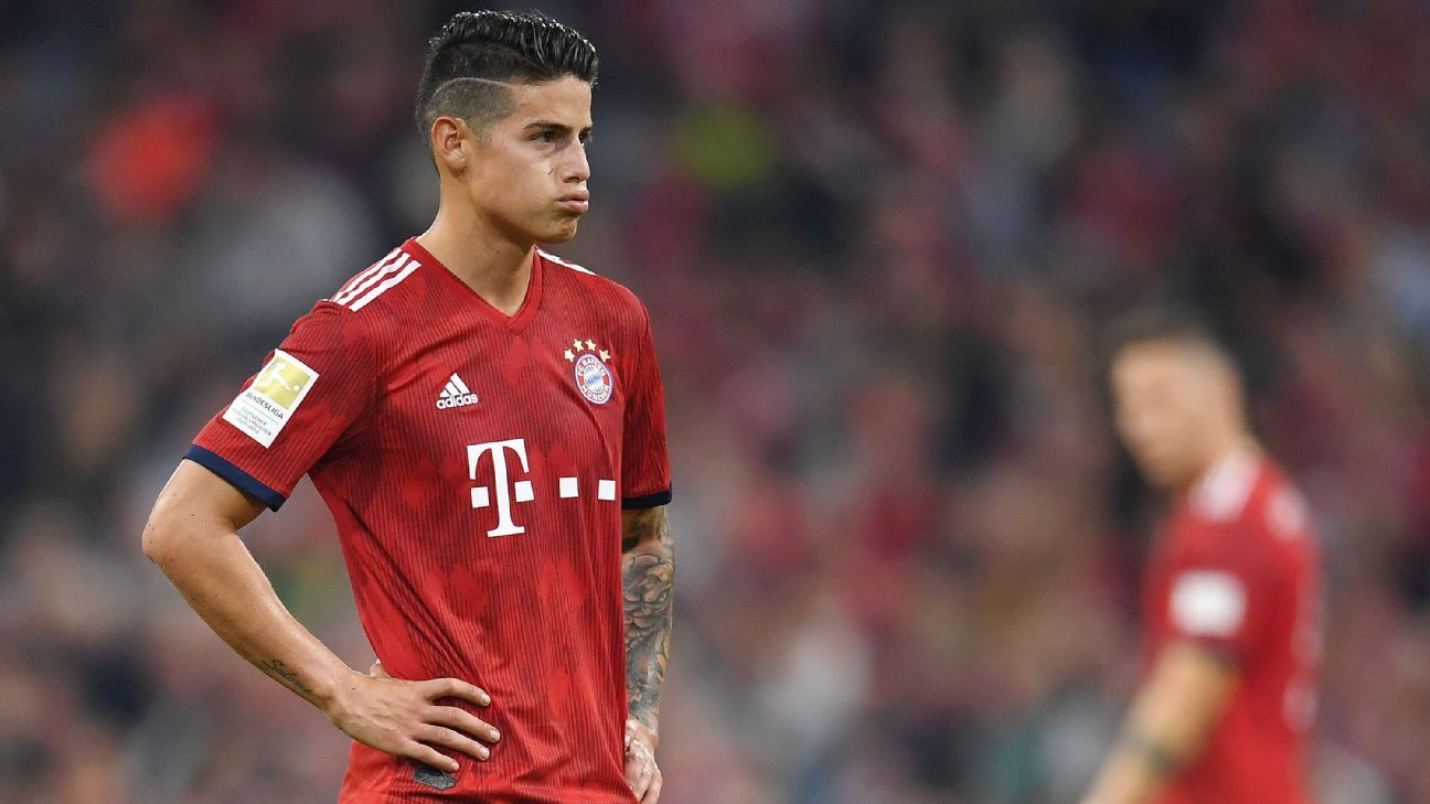 James Rodriguez of Bayern Munich looks dejected.