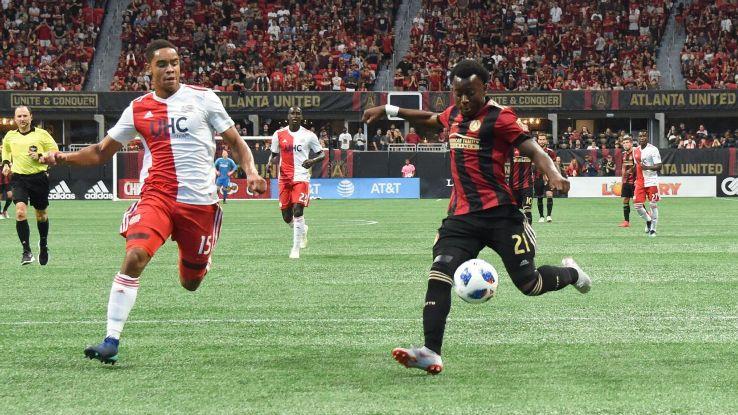 Atlanta United defender George Bello scores a goal against the New England Revolution.