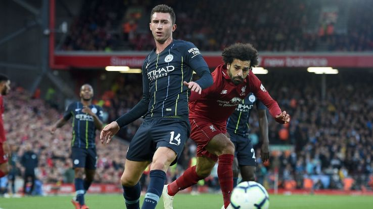 Laporte, left, coped admirably with Liverpool's pacy front three and showed why he's part of Man City's first-choice centre-back partnership.