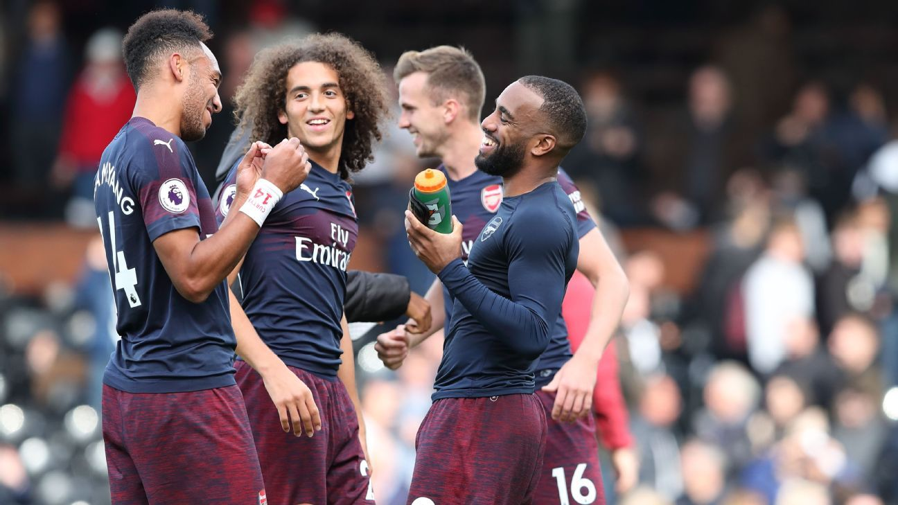 Arsenal players Pierre-Emerick Aubameyang, Matteo Guendouzi and Alexandre Lacazette
