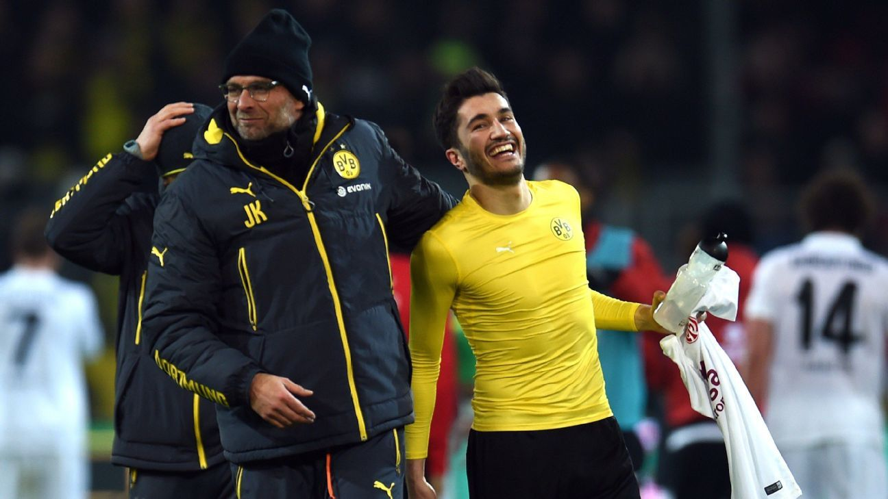Sahin, right, loved playing for Klopp because of the confidence behind the manager's methods. 'I felt very free on the pitch. I knew I could make mistakes.'