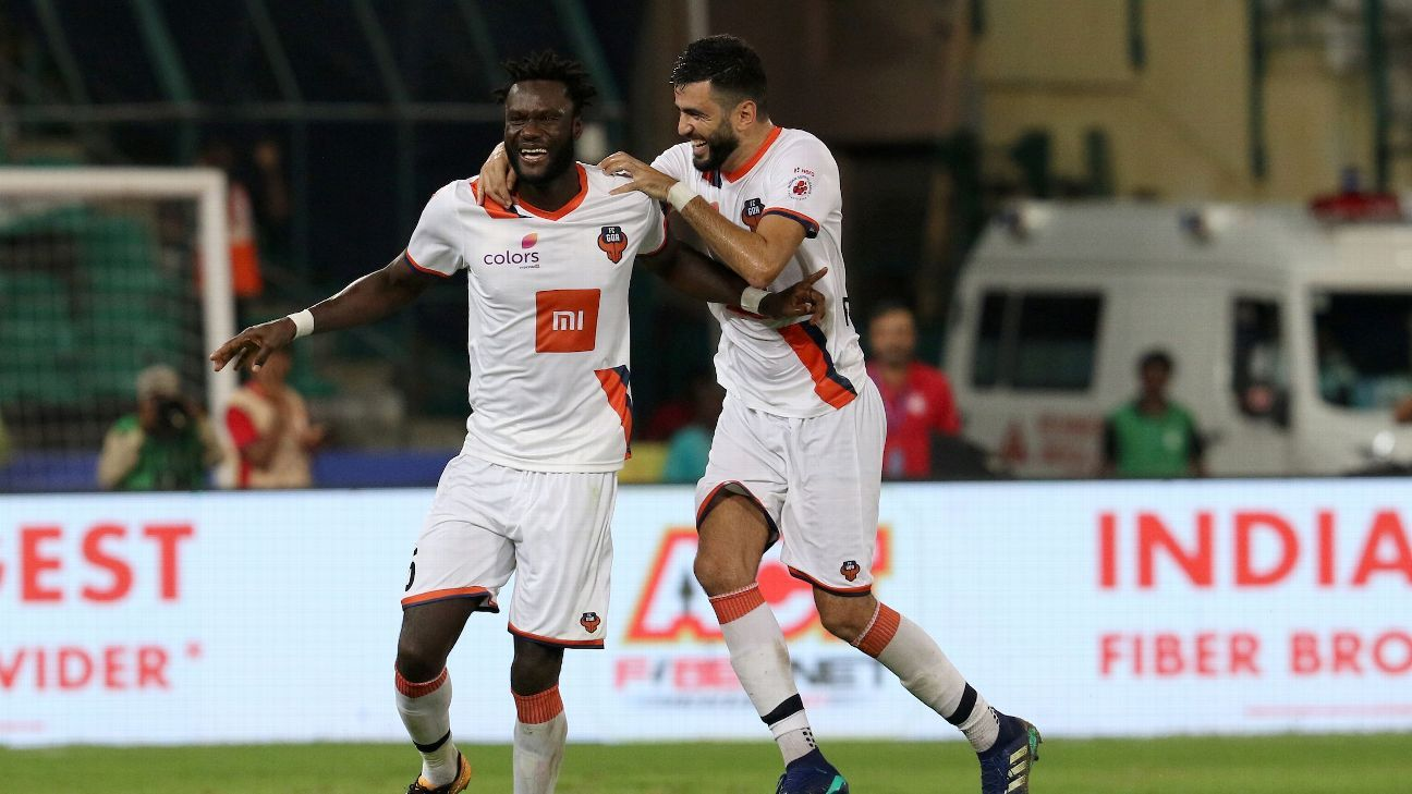 Mourtada Fall, left, of FC Goa