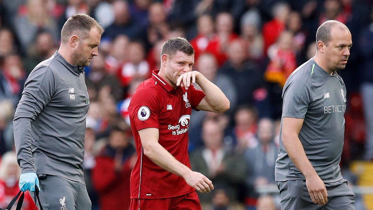 Liverpool's James Milner was injured against Manchester City.