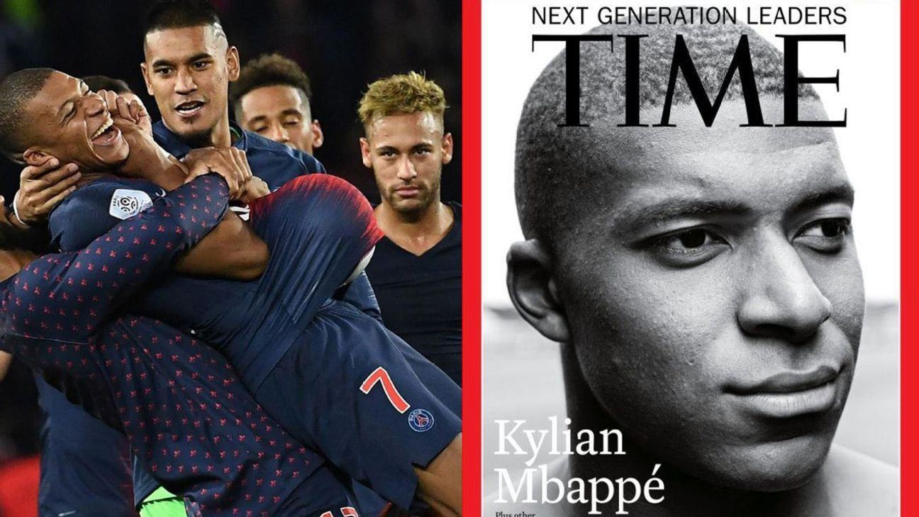 Kylian Mbappe and Neymar's contrasting career trajectories were illustrated with the former's appearance on TIME's cover