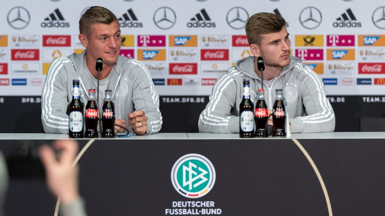 Toni Kroos speaks at a news conference in Berlin while on international duty with Germany.