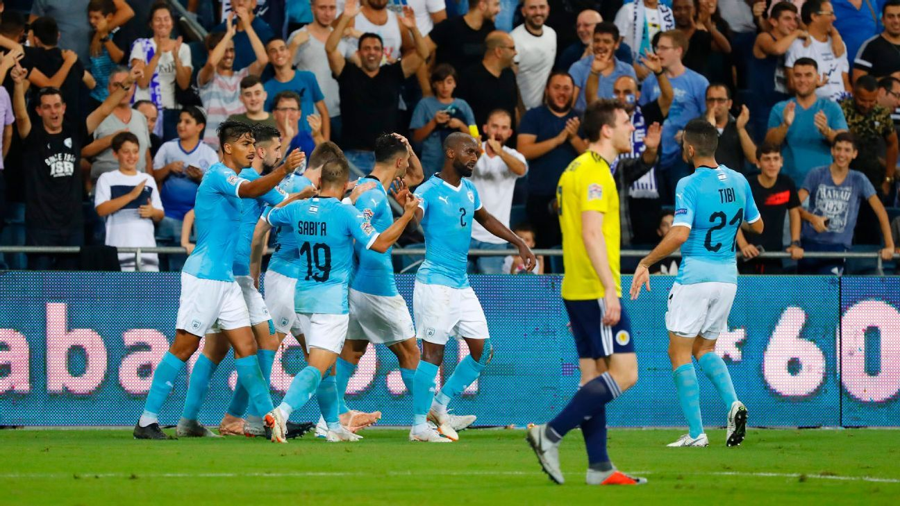 Israel rally past 10-man Scotland after Kieran Tierney own goal