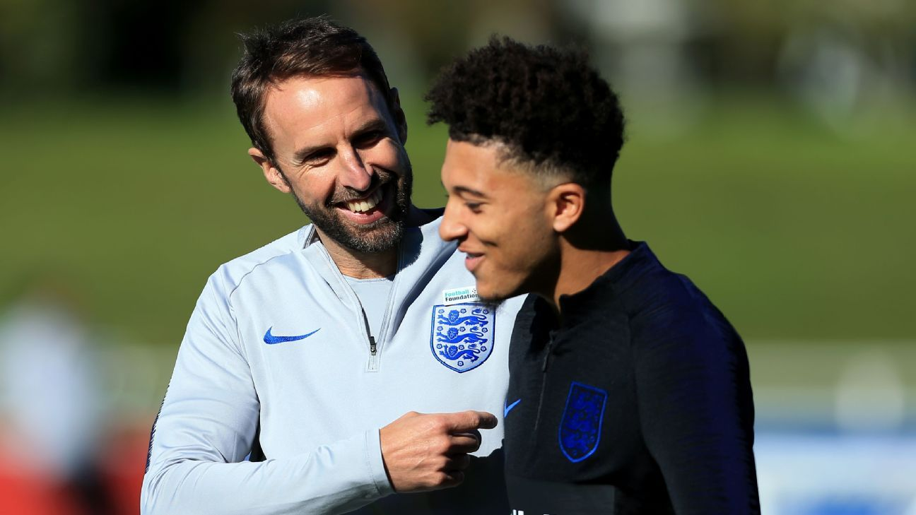 England manager Gareth Southgate, left, could hand a debut to Jadon Sancho, right, in Croatia on Friday.