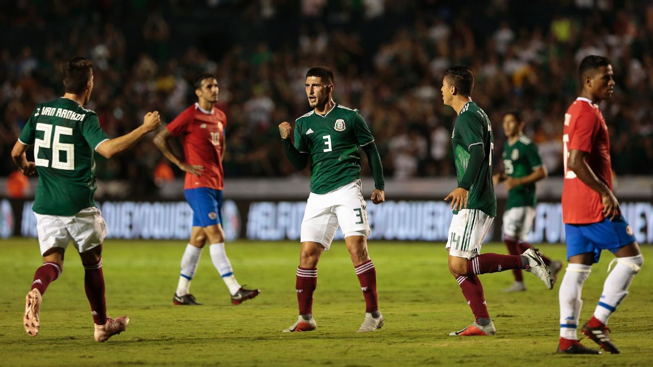 Victor Guzman of Mexico celebrates after scoring his first goal.
