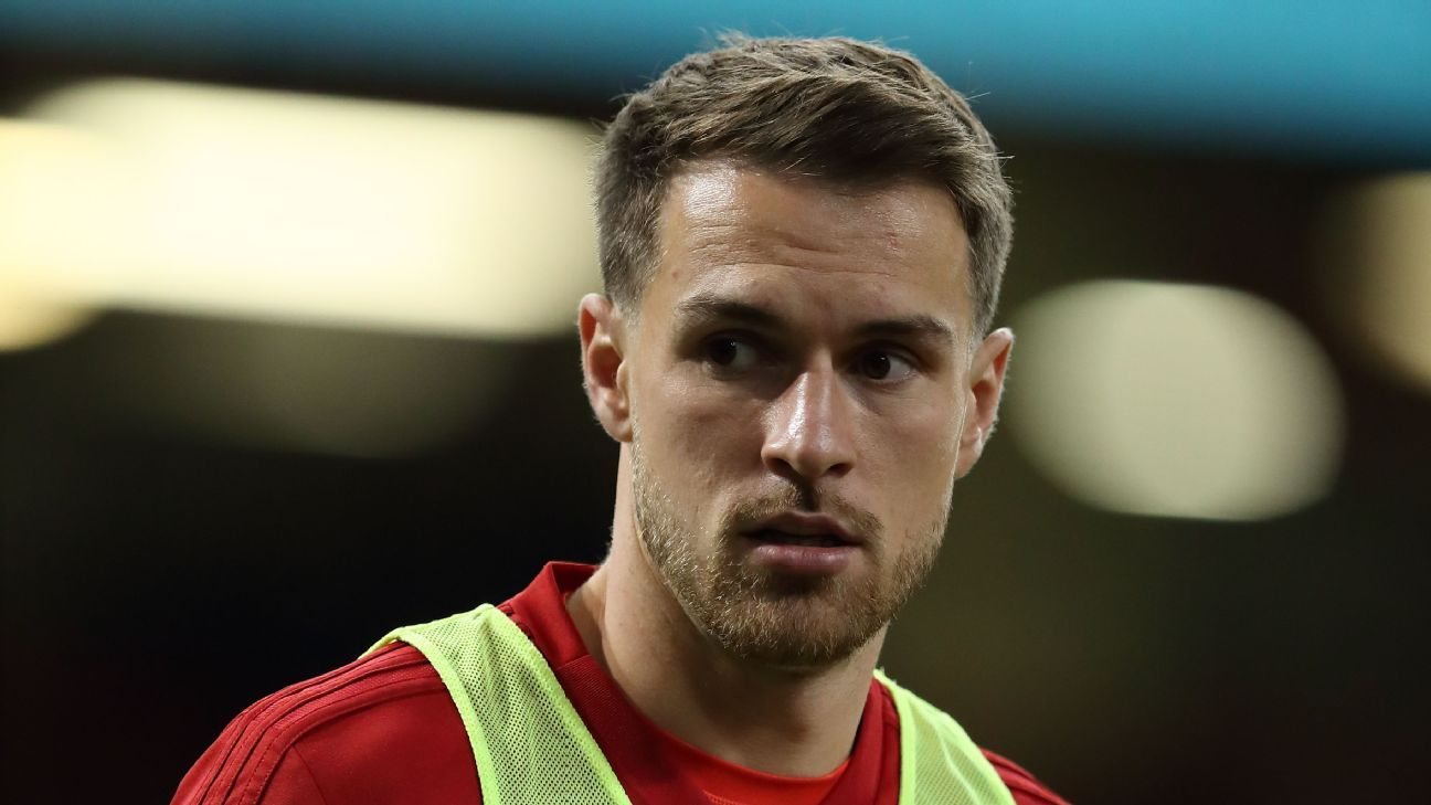 Aaron Ramsey warms up for Wales' international friendly with Spain
