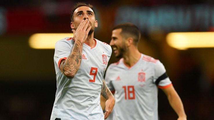 Alcacer celebrated his return to the Spain squad with two goals in the opening half-hour. Even though he doesn't get many chances, he scores plenty of goals.