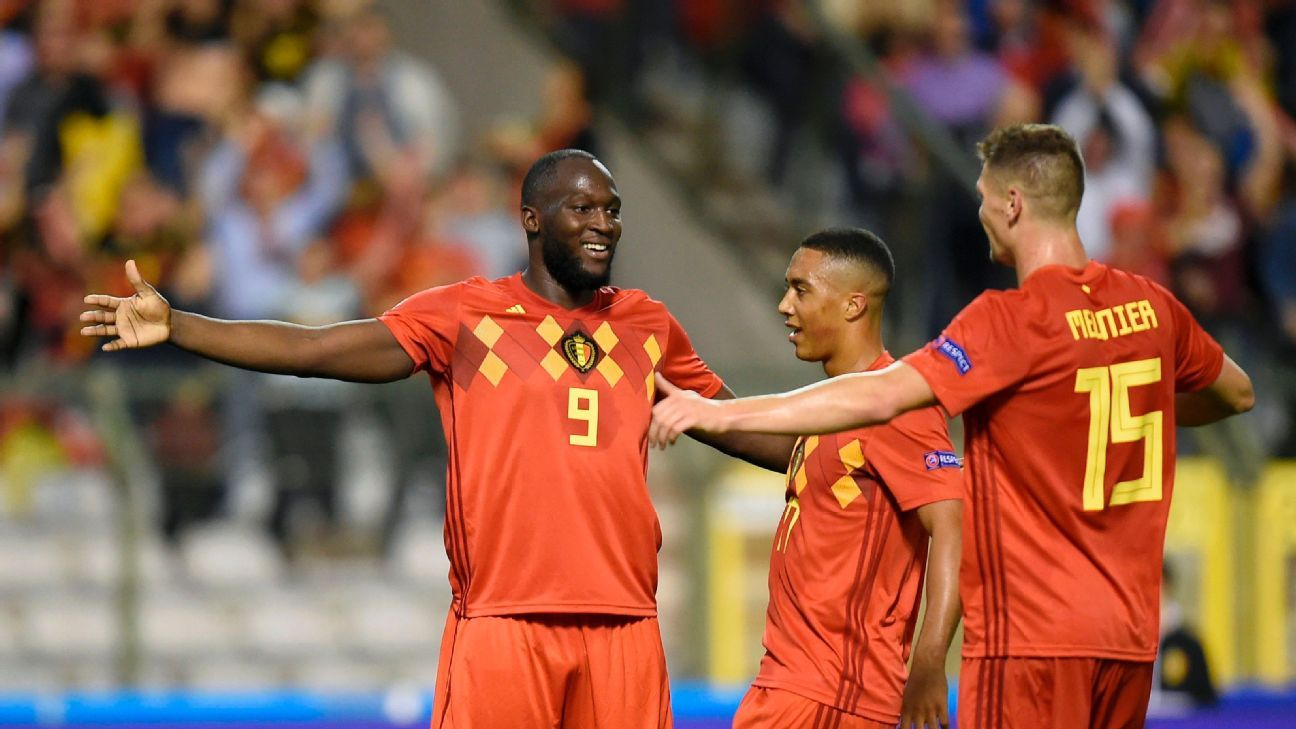 Belgium's Romelu Lukaku celebrates after scoring a goal against Switzerland in the UEFA Nations League.