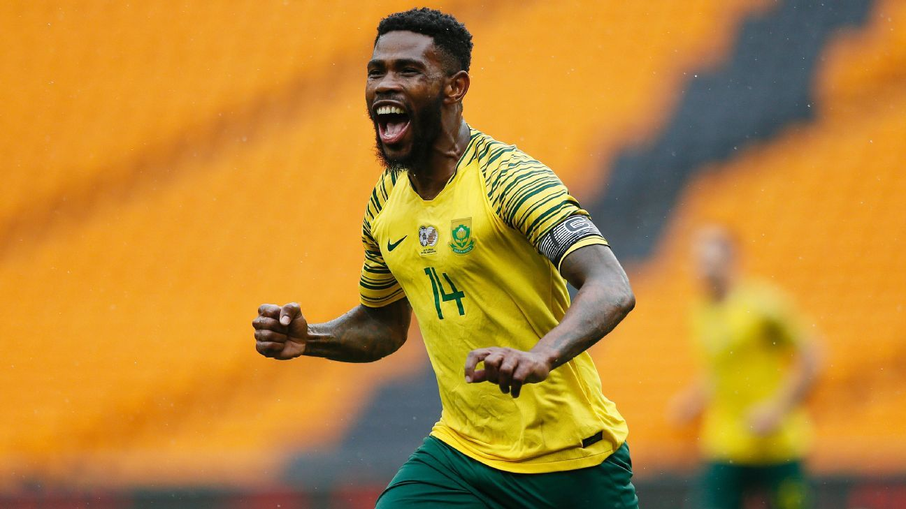 South Africa's Thulani Hlatswayo celebrates scoring a goal against the Seychelles in an African Cup of Nations qualifier at FNB Stadium in Johannesburg.