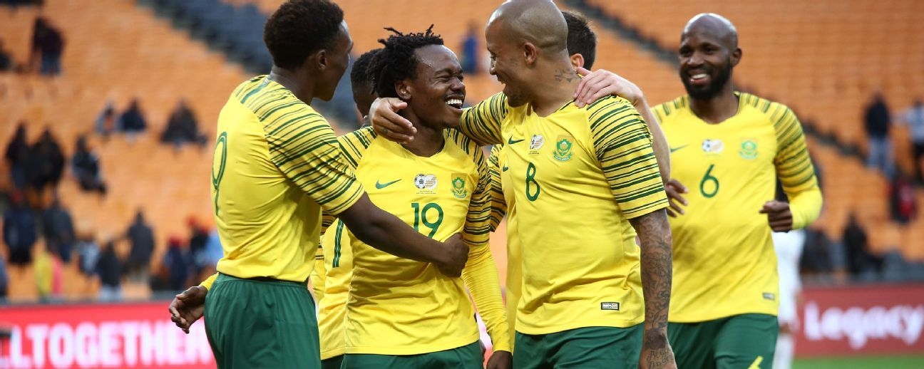 South Africa's Percy Tau celebrates with teammates after scoring a goal against the Seychelles in an African Cup of Nations qualifier at FNB Stadium in Johannesburg.