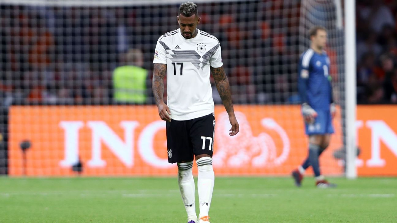 Jerome Boateng reacts during the UEFA Nations League match between Netherlands and Germany.