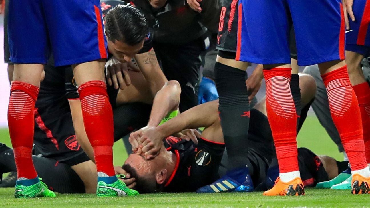 Laurent Koscielny was injured in Arsenal's Europa League semifinal defeat against Atletico Madrid in May.