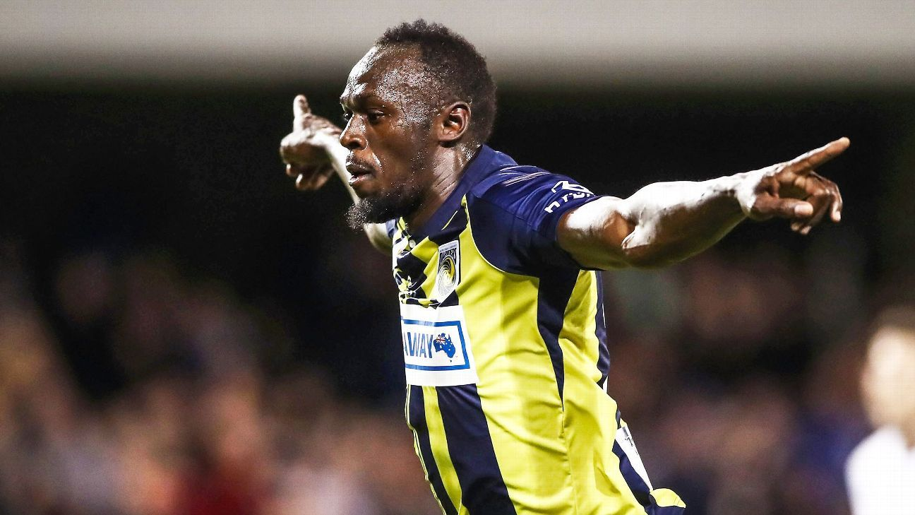 Usain Bolt of the Mariners celebrates scoring his first goal.