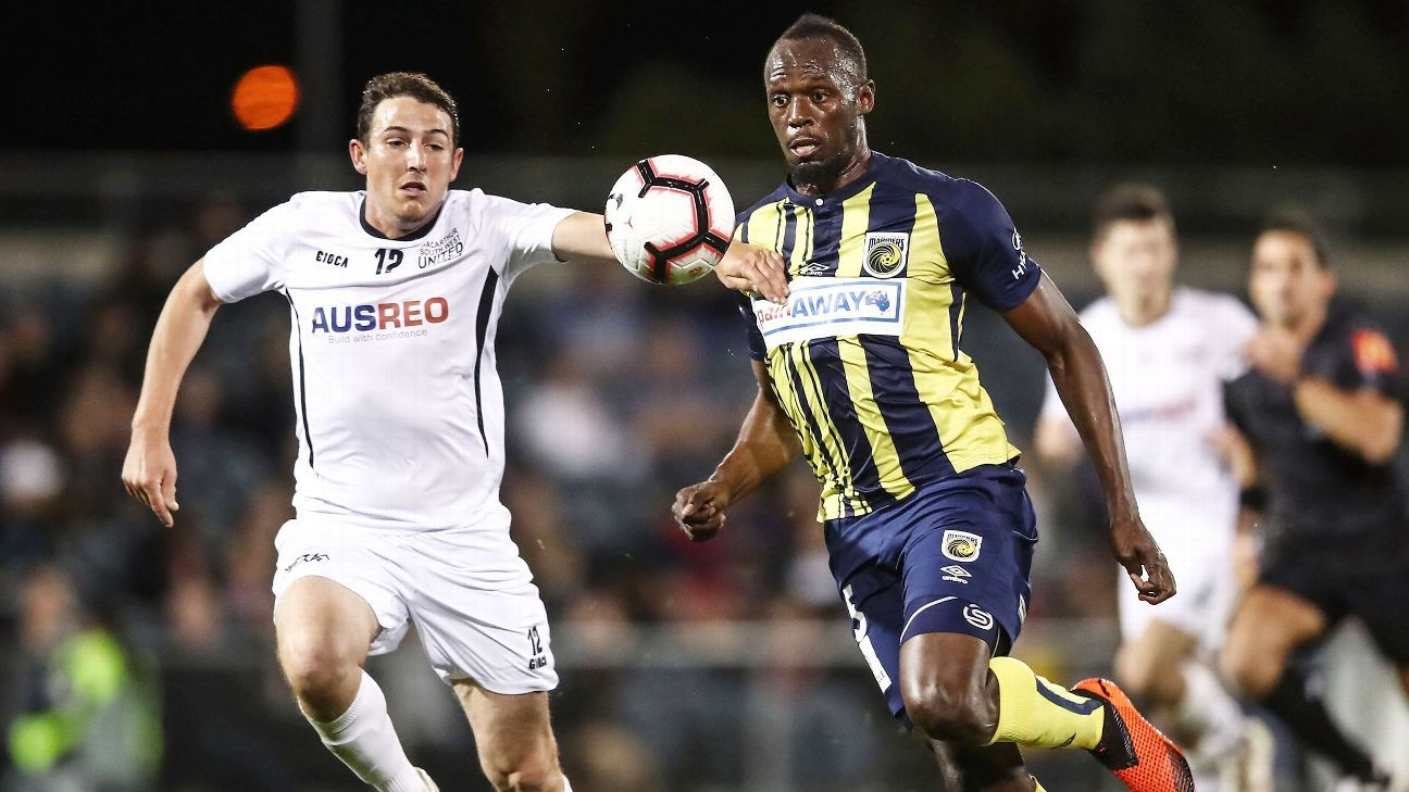 Usain Bolt scored two goals against Macarthur South West in his first start of his trial with Central Coast Mariners