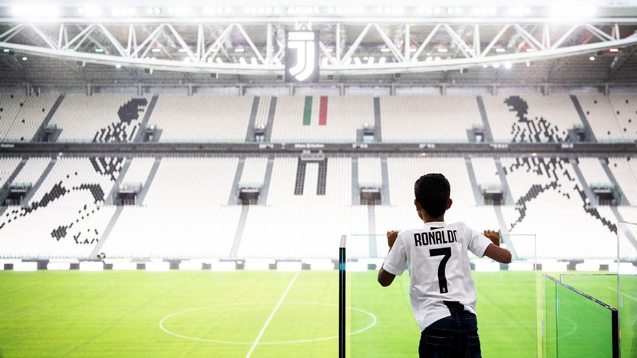 Cristiano Ronaldo's son surveys the Allianz Stadium.
